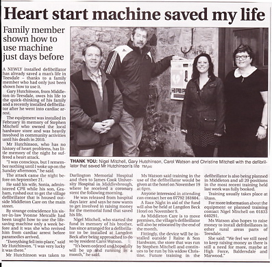 Teesdale Mercury Article about saving Gary Hutchinson