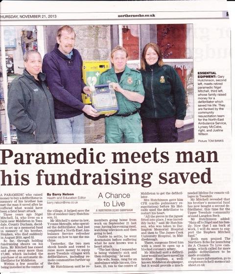 Stephen Mitchell Memorial Fundraising saves Gary Hutchinson.